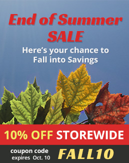 End of Summer Sale - 10% off Storewide - Use coupon code FALL10 - Sale ends October 10, 2017